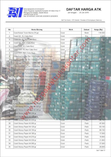 Price List Grosir Stationery Kantor tahun 2016 kertas Foto Merk Coral
