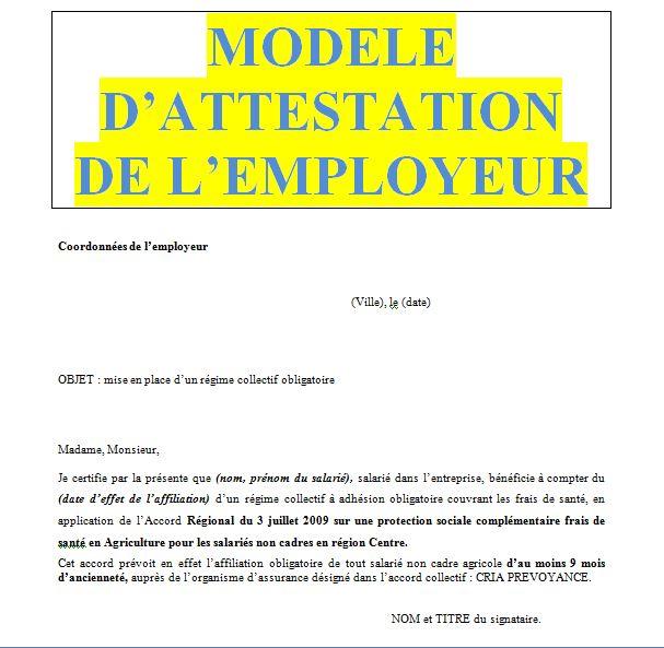 Modele Attestation Employeur Pour Resiliation De Mutuelle Name