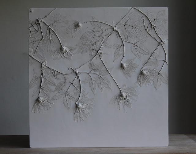 Rachel Dein, Plaster Cast, Botanical Art, Plaster Tile, Tactile Studio, Clematis macropetalla