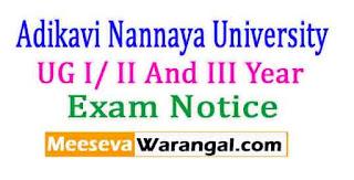 Adikavi Nannaya University UG I/ II And III Year CCS(Backlogs) / II / IV Pract. Exam Notice