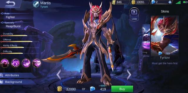 cara menggunakan hero Martis Mobile Legend