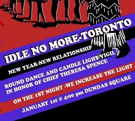 Idle No More, Toronto New Year's Day, Dundas Square 4:00 PM.