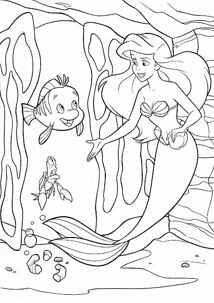 Walt Disney Coloring Pages Flounder Sebastian Princess Ariel Photo