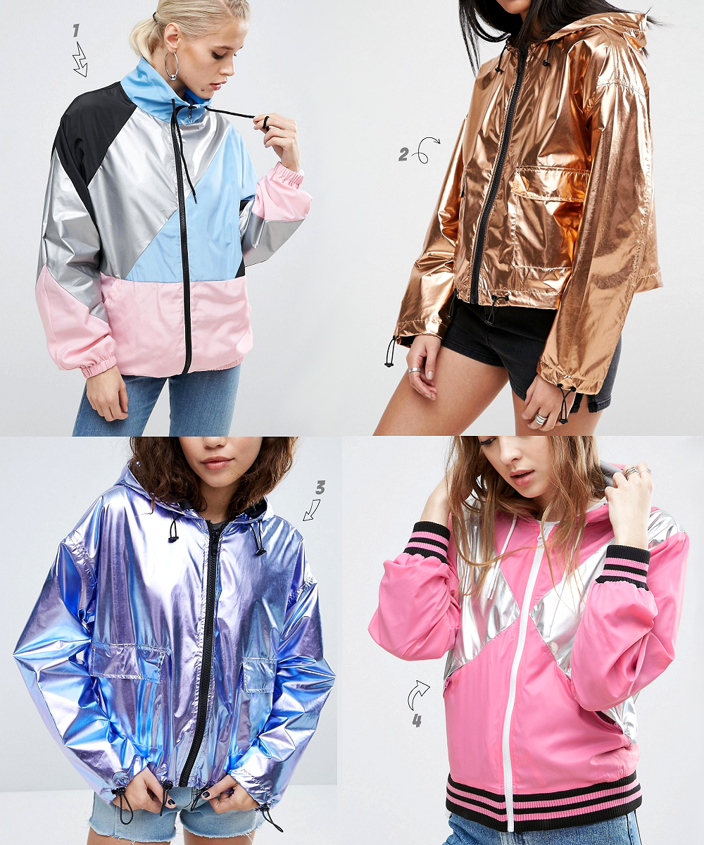 Cropped Rain Mac Cagoules in by ASOS in Metallic Colourblock and Sport