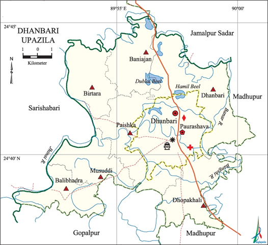 Dhanbari Upazila Map Tangail District Bangladesh