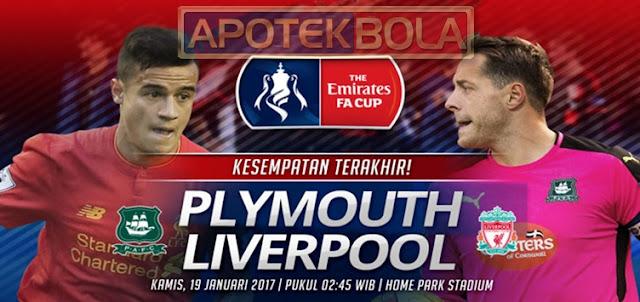 Prediksi Pertandingan Plymouth vs Liverpool 19 Januari 2017