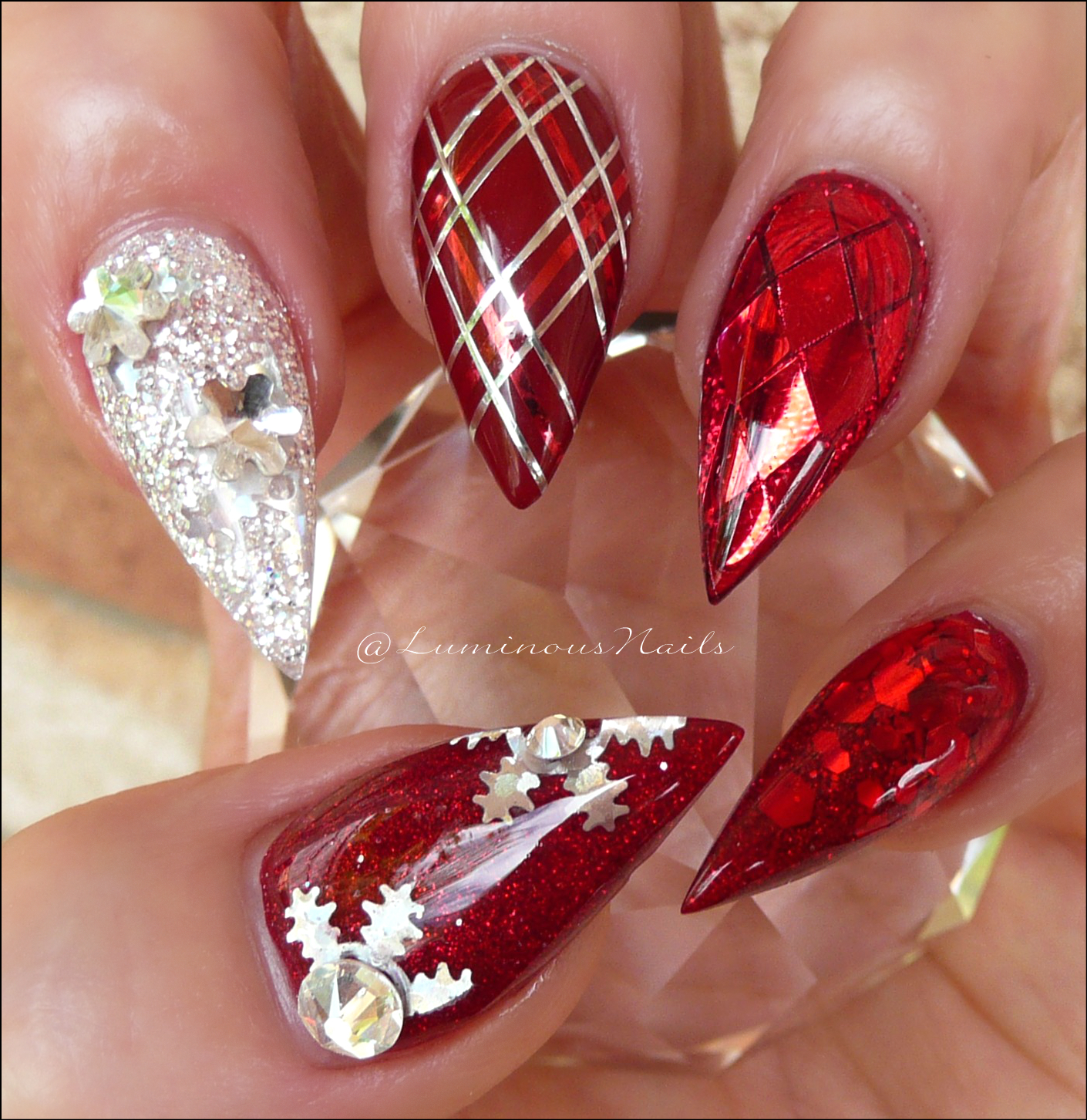 Luminous Nails Christmas Nails Red Silver Christmas Nails
