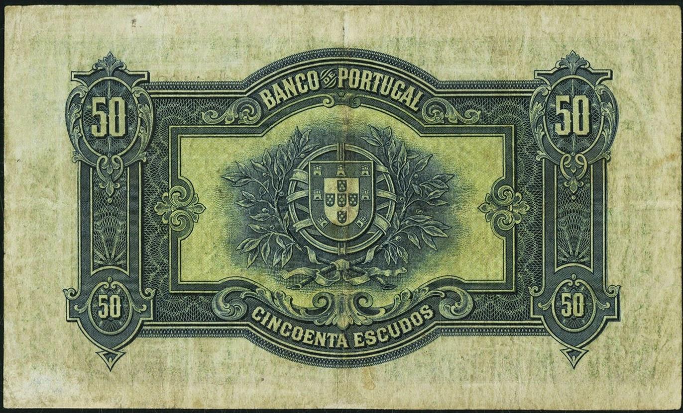 Portuguese paper money 50 Escudos banknote 1925