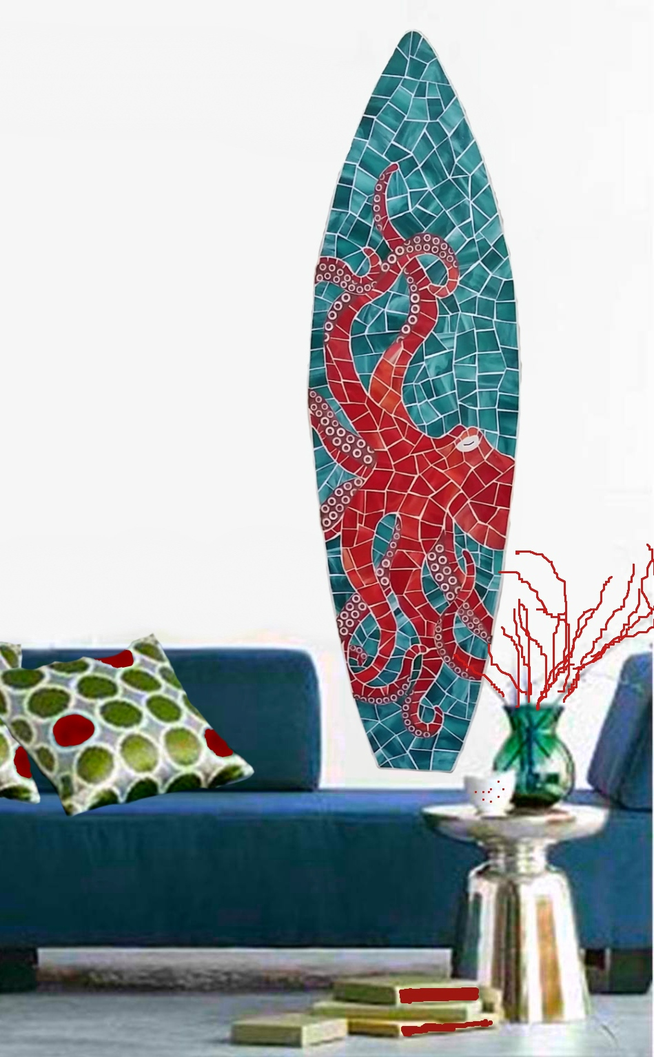 Octopus And Sea Turtle Coastal Mosaics Stained Glass