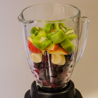 Fresh fruit in a blender