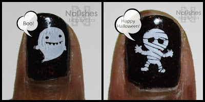 Halloween nails featuring OPI 'Today I Accomplished Zero'