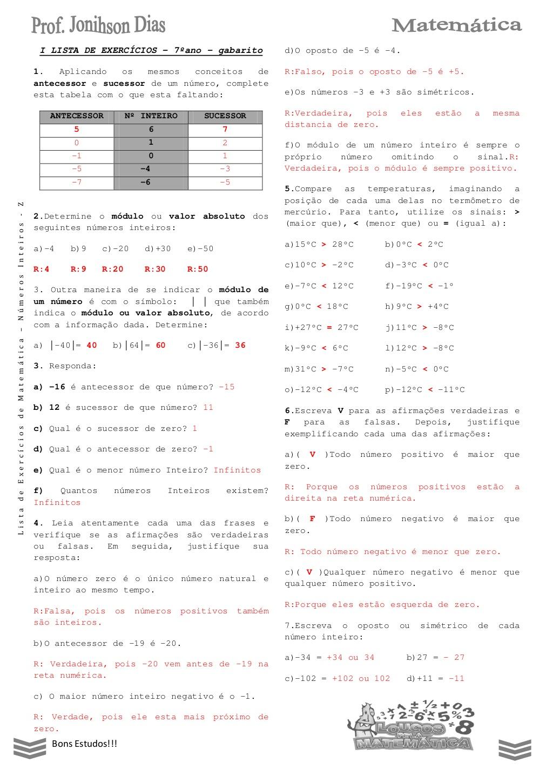 Lista De Exercicios Numeros Inteiros Com Respostas 7º Ano Atividades De Matematica