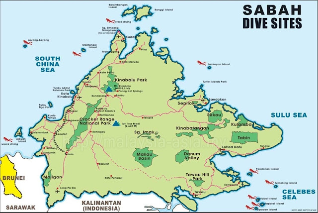 Dive Sites of Sabah Map