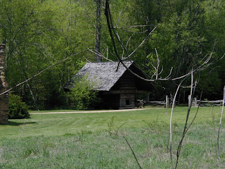 A large corn crib at the Cable Mill Historic area in Cades Cove.