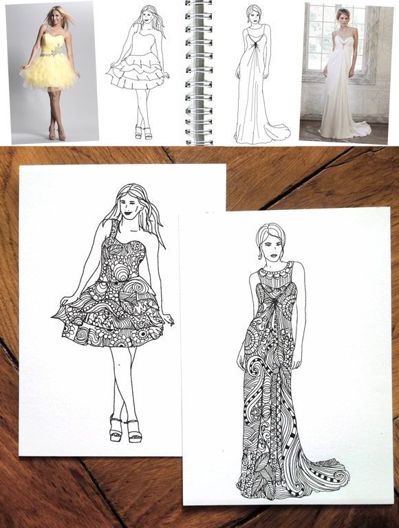 alessas blog diy fashion doodle mit vorlage zum ausmalen. Black Bedroom Furniture Sets. Home Design Ideas