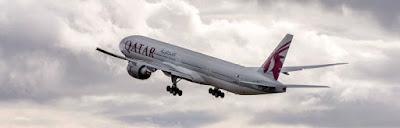 Source: Qatar Airways. Plane in Qatar Airways livery in action.