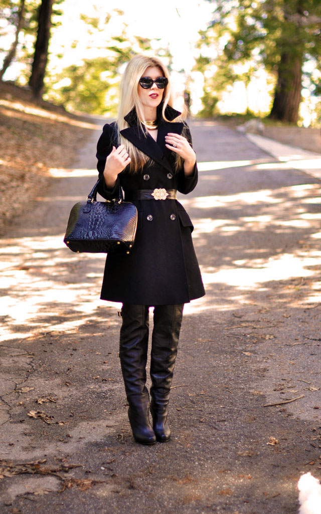 belted coat dreass, over the knee boots, gold accessories