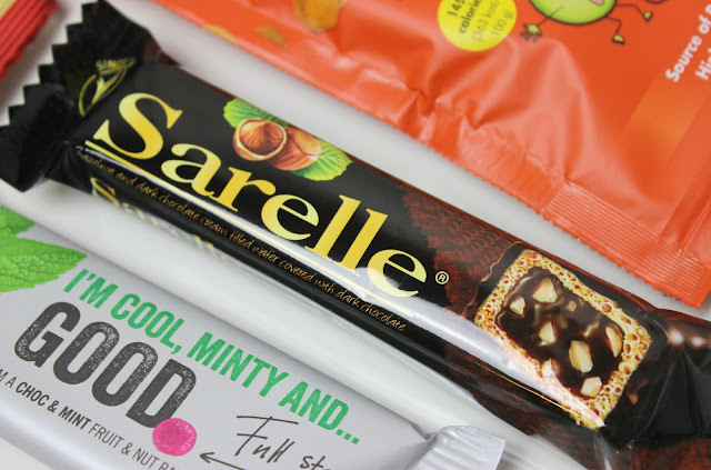 A picture of Sarelle Hazelnut and Dark Chocolate Cream Filled Wafer and Good. Chocolate & Mint Fruit & Nut Bar