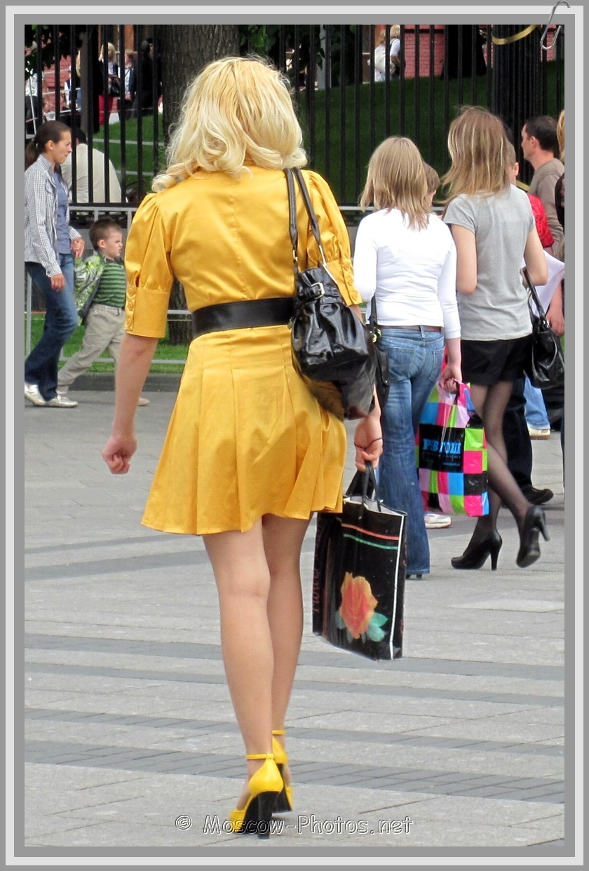 Blonde Lady In Summer Yellow Dress