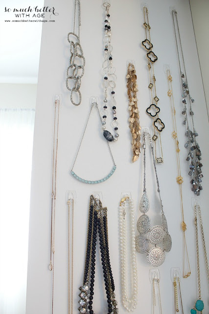12 Ways to Organize with Command Hooks - organize a wall of necklaces :: OrganizingMadeFun.com