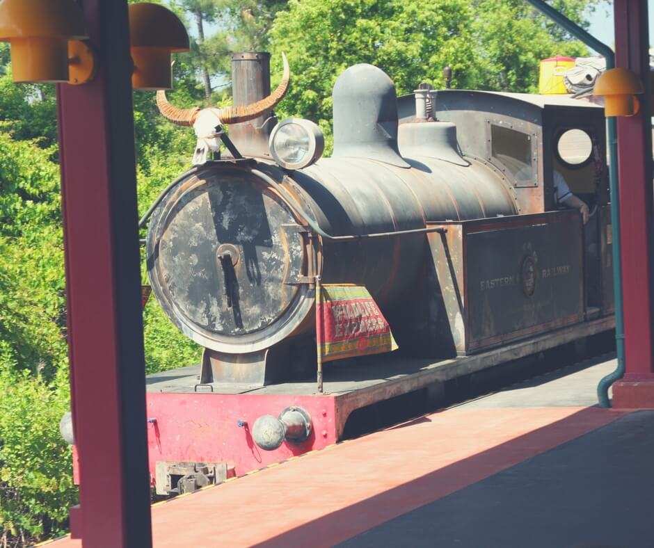 "A train, a goat's head skeleton on top of it, heads towards the camera. It has a sign on it saying ""wildlife express"". It is a black train. Image for ""How to get a much-needed rest at Animal Kingdom""."