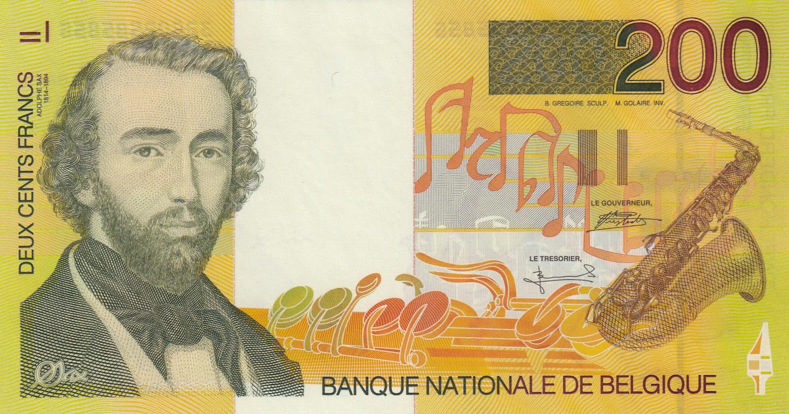 Belgium Banknotes 200 Belgian Francs banknote 1995 Adolphe Sax