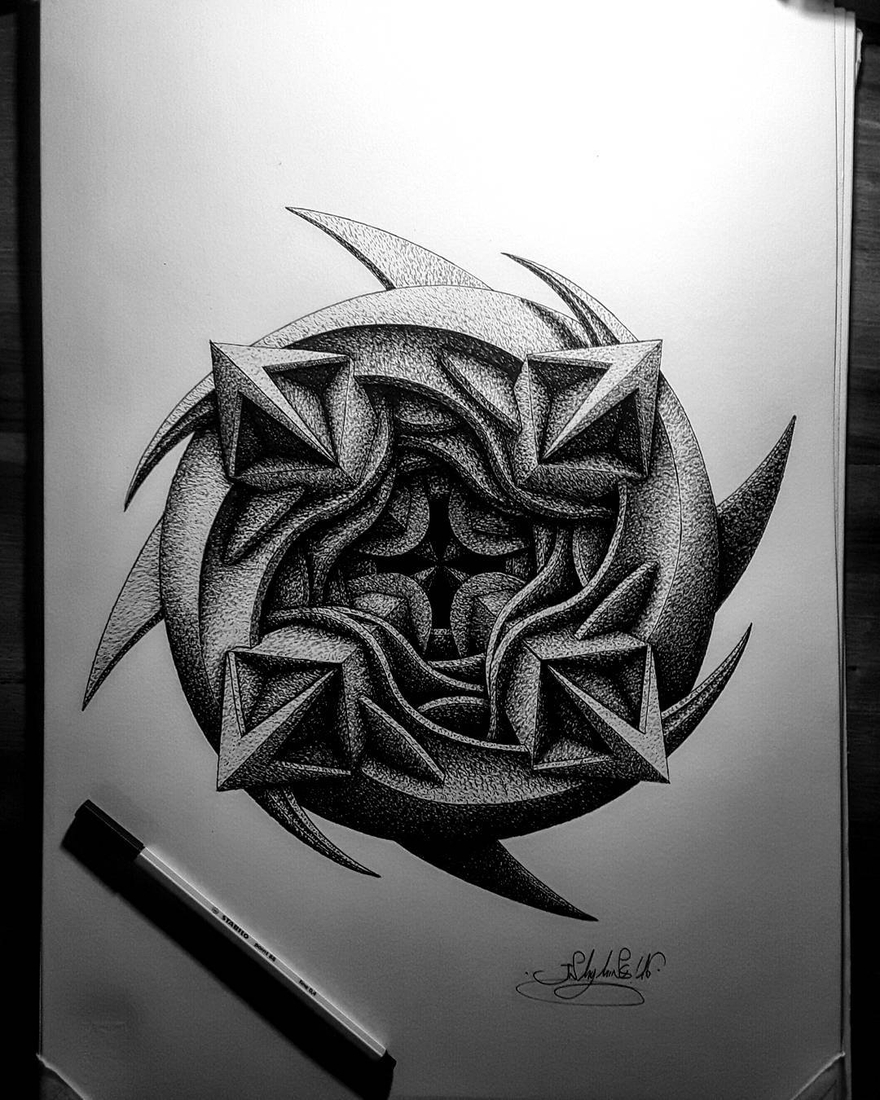 06-in-my-mind-art-Complex-Geometric-shapes-in-Ink-Stippling-Drawings-www-designstack-co