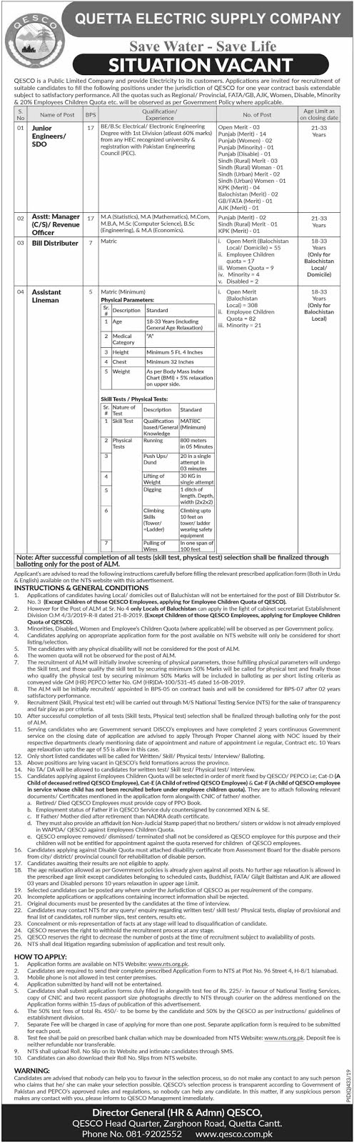 Quetta Electric Supply Company Jobs QESCO Jobs via NTS