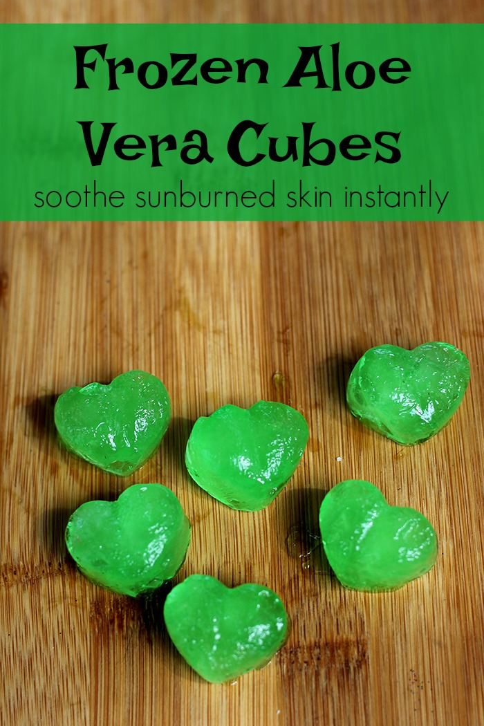 Frozen aloe vera cubes for instant sunburn relief.