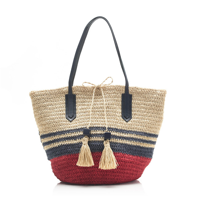 J Crew Striped Straw Market Tote
