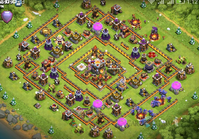 Base Trophy TH 11 COC Update Bomb Tower Terbaru 2017 Tipe 3