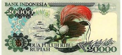 Gambar uang kertas Indonesia Rp 20000 terbitan tahun 1992
