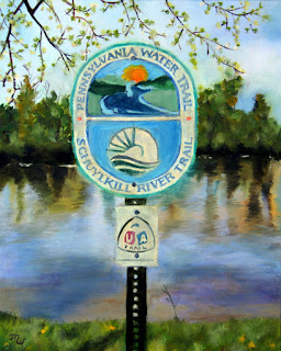 Schuylkill River Stroll Painting by Merril Weber
