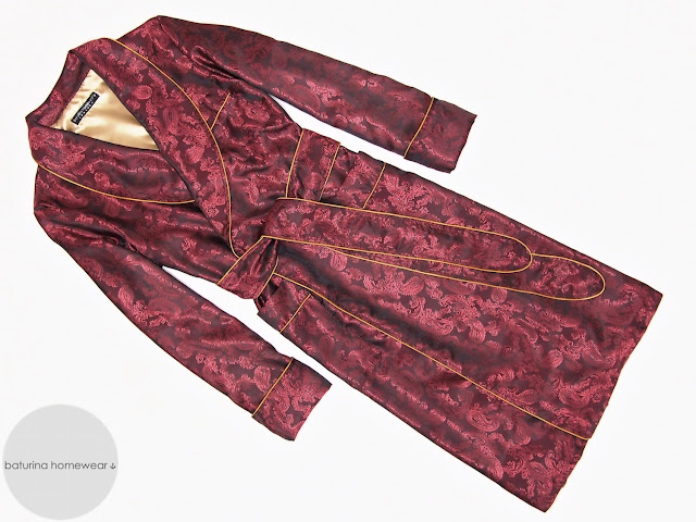 Men's burgundy paisley silk dressing gown lightweight red robe smoking jacket