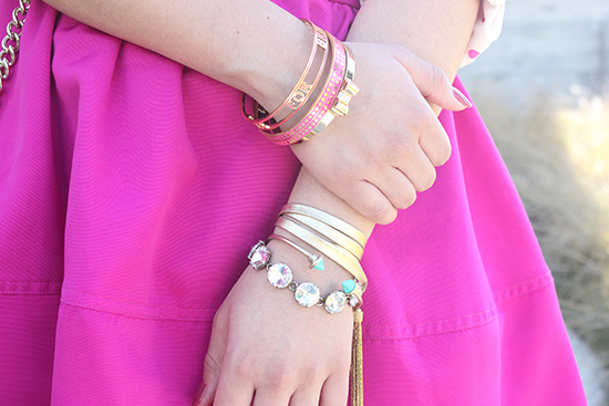 Kate Spade Pink and Gold Bangles Arm Party