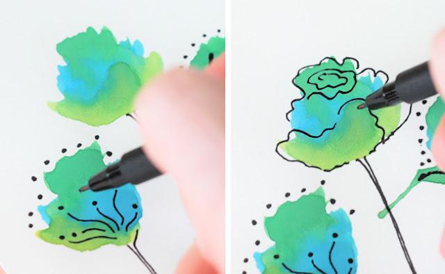 Karten mit Aquarell-Blumen selber machen
