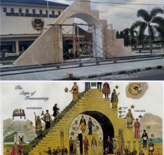 Foto: Tugu DPRD Kabupaten Madiun Yang Jadi Viral, Karena Mirip Kuil Pemuja Setan