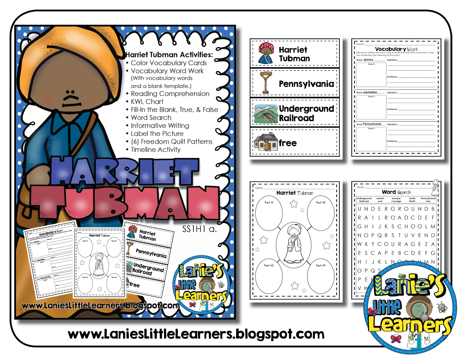 Lanie S Little Learners Harriet Tubman No Prep Printables