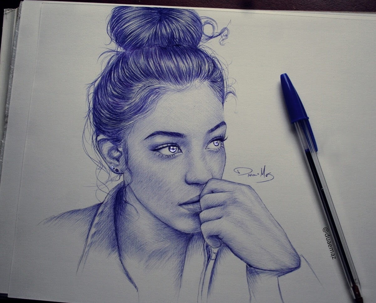 10-Duae-Maz-Blue-and-Black-Ballpoint-Pen-Portraits-www-designstack-co