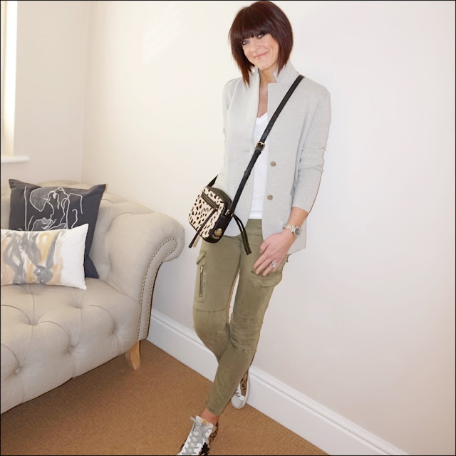 My Midlife fashion, j crew knitted blazer, village england chelmorton cross body bag, J Crew vintage Deep V vintage tee, zara military combat trousers, golden goose superstar leopard print calf hair trainers
