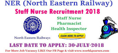 RRC Nursing Recruitment 2018 -North Eastern Railway