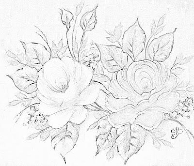 risco pintura em tecido como fazer rosas