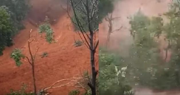 Ινδία: Η στιγμή που χείμαρρος λάσπης καταστρέφει σπίτι στην Κεράλα (video)