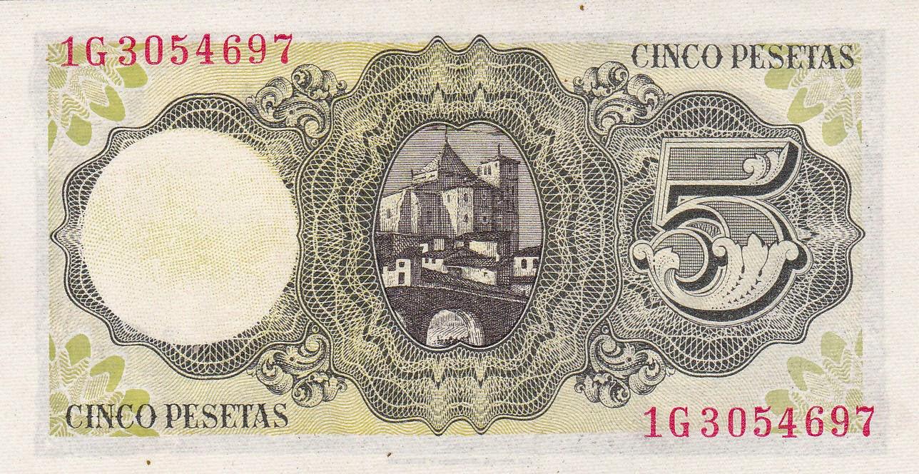 Spain money currency 5 Pesetas banknote 1951
