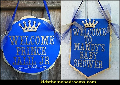 Prince theme birthday custom door sign - Royal blue and gold