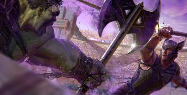 Халк ведет бой с Тором на далекой планете-арене.