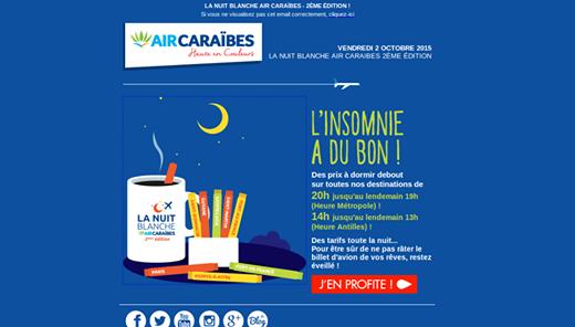 Banniere Nuite Blanche Air Caraibes-  Vnete Flash
