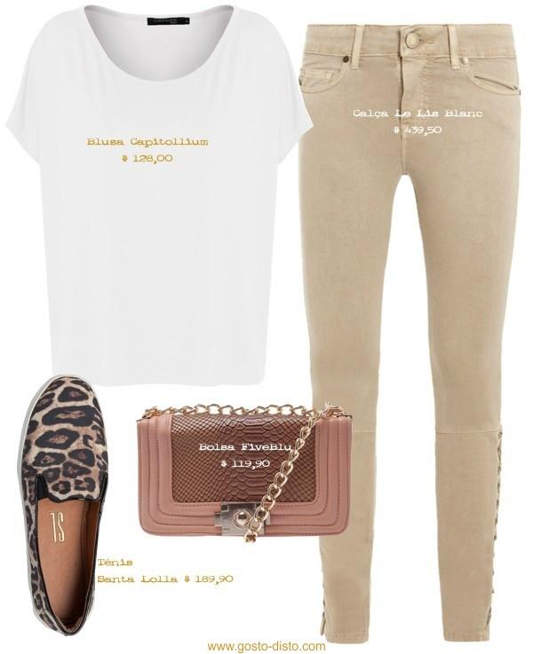 Calça skinny bege com blusa branca