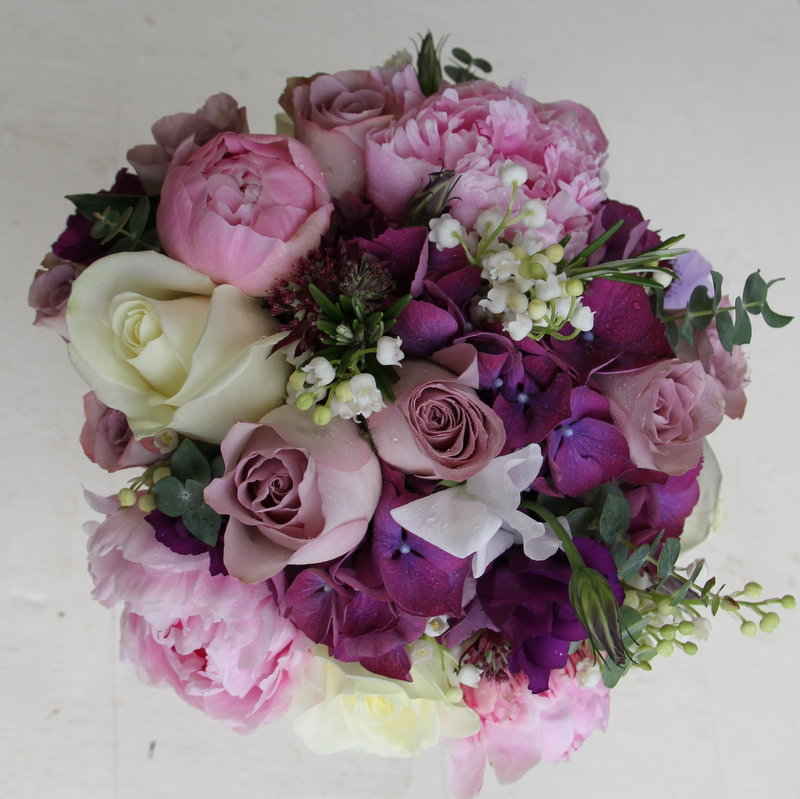 Purple And Pink Wedding Flowers: Deep Purple, Mauve & Pink Bridal Bouquet