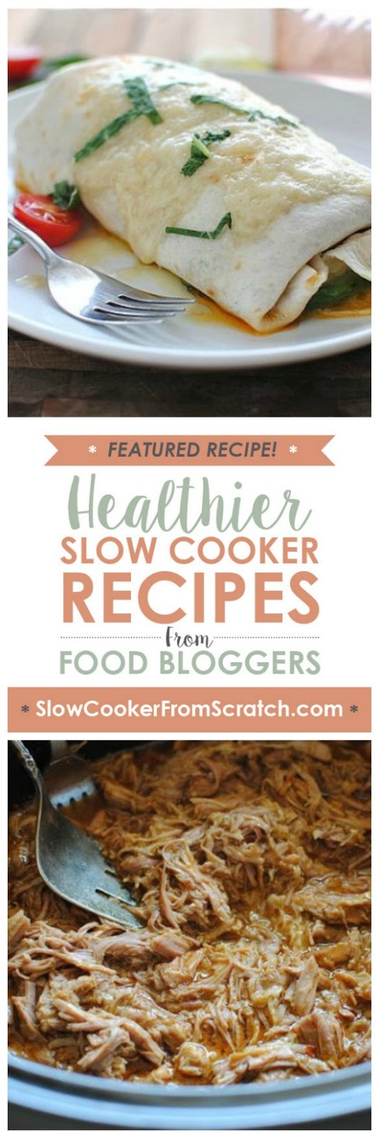 Slow Cooker Pork Burritos from Bev Cooks featured on SlowCookerFromScratch.com